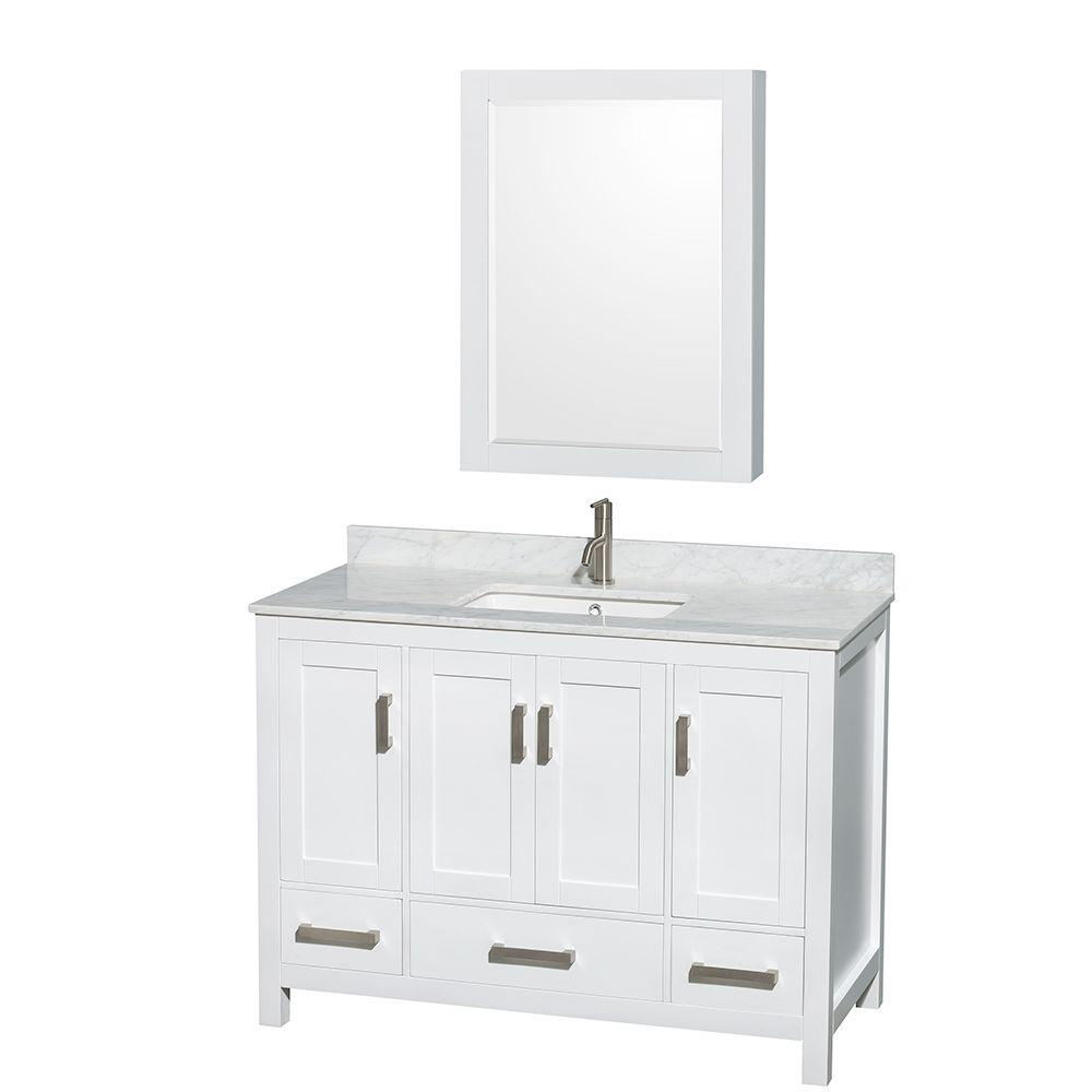 Wyndham Collection Sheffield 48 in. Vanity in White with Marble Vanity Top in Carrara White and Medicine Cabinet