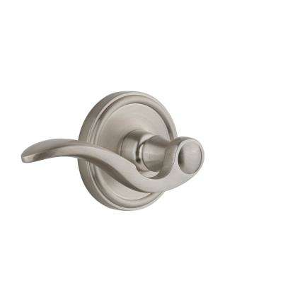 Georgetown Plate 2-3/4 in. Backset Satin Nickel Privacy Bed/Bath with Bellagio Door Lever