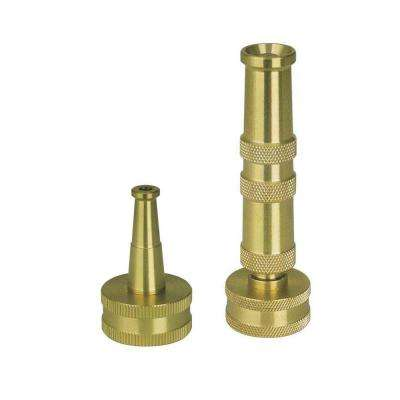 Ultimate Solid Brass, Heavy Duty Adjustable Twist Hose Nozzle and Bonus Jet Sweeper Nozzle