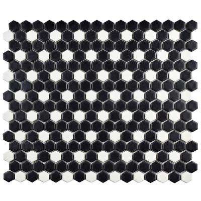 Metro Mini Hex Matte Black with White Dot 11-1/2 in. x 13-1/4 in. x 6 mm Porcelain Mosaic Tile