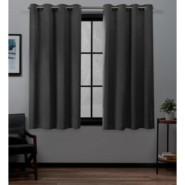 Academy 52 in. W x 63 in. L Woven Blackout Grommet Top Curtain Panel in Charcoal (2 Panels)