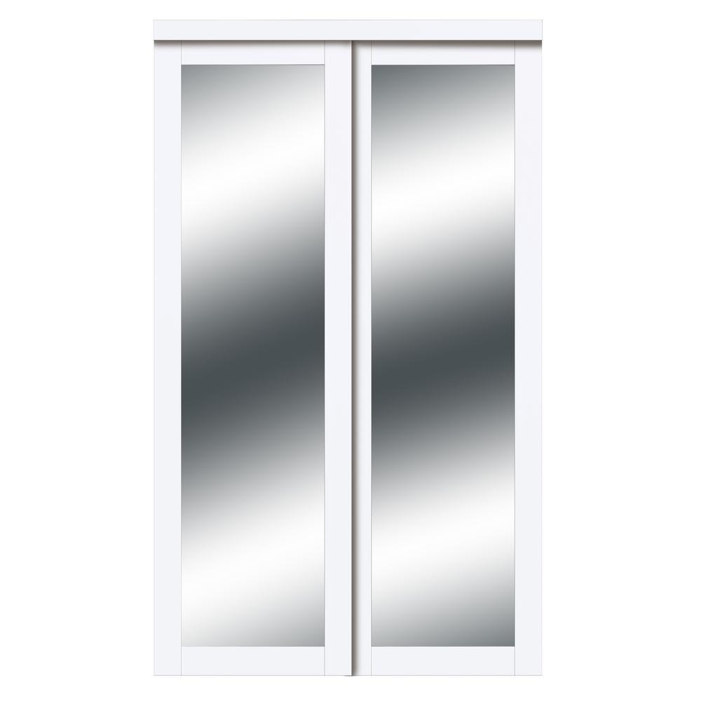 60 in. x 80 in. Harmony White Mirror MDF Bypass Sliding Closet Door