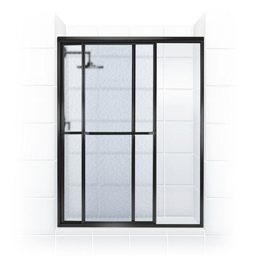 Coastal Shower Doors Paragon Series 56 in. x 70 in. Framed Sliding Shower Door with Towel Bar in Oil Rubbed Bronze and Obscure Glass