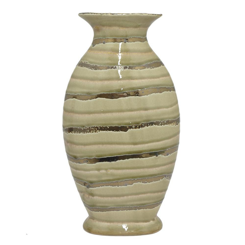 Gold and Ivory Ceramic Decorative Vase