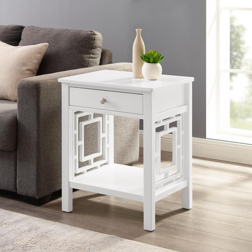 Sloane White 1-Drawer End Table