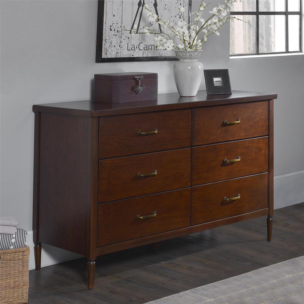 Dorel Living Brook Lane 6 Drawer Walnut Dresser Fa1011 1 The Home Depot