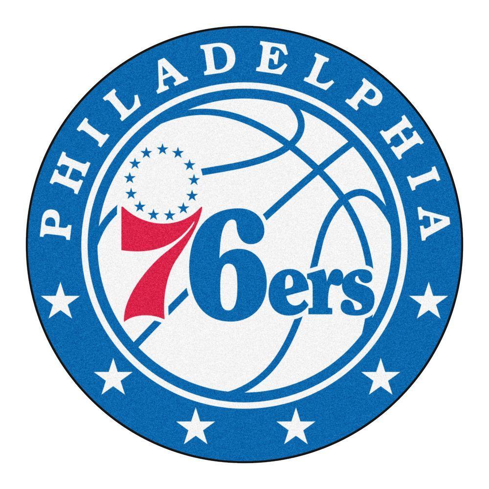 NBA Philadelphia 76ers Blue 2 ft. x 2 ft. Round Area Rug