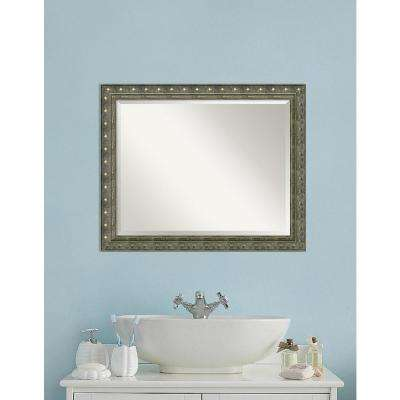 Barcelona Champagne Wood 32 in. W x 26 in. H Traditional Bathroom Vanity Mirror