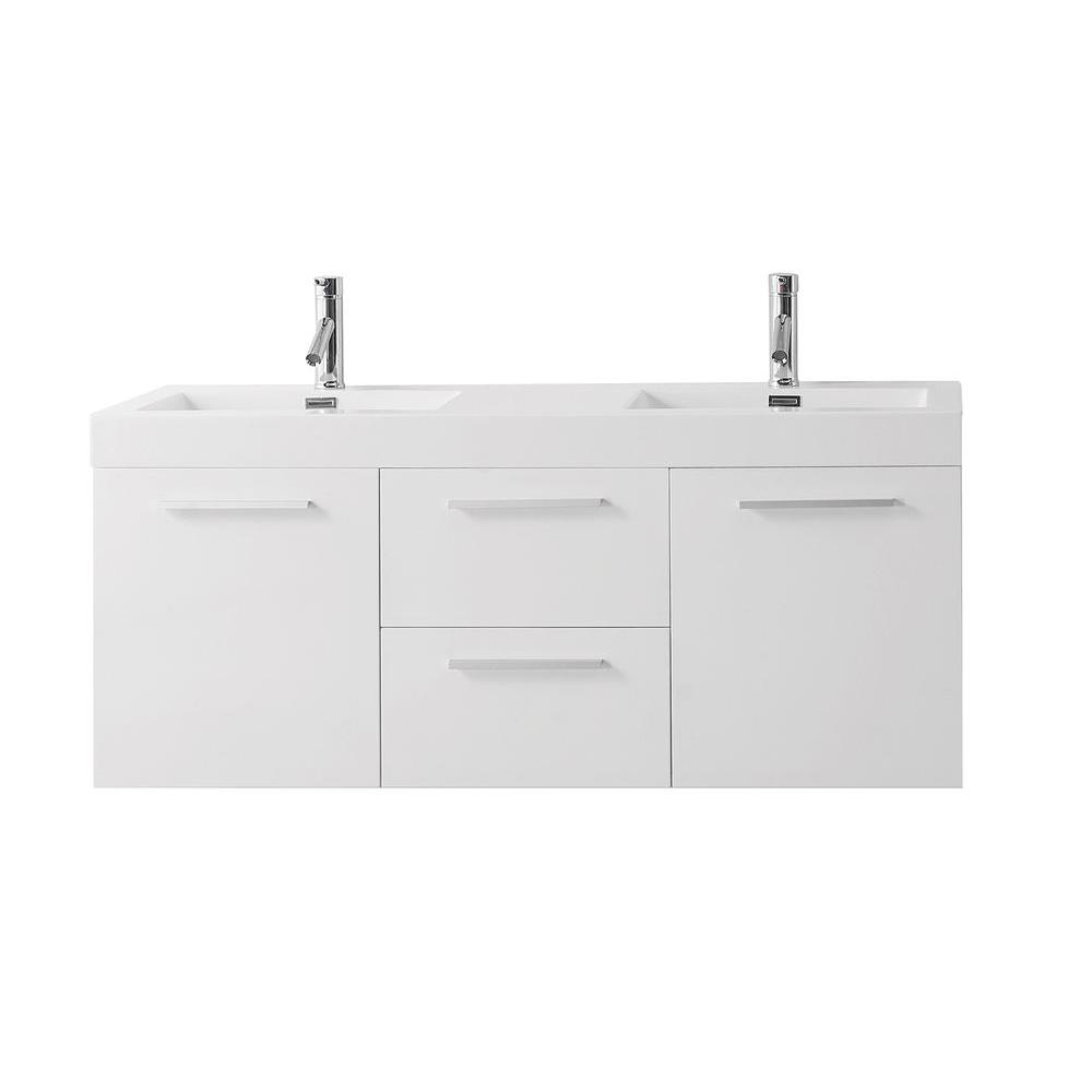 Midori 35x19 single sink bathroom vanity in gloss white on sale online - Midori 54 33 In W Double Basin Vanity In Gloss White With Poly Marble Vanity