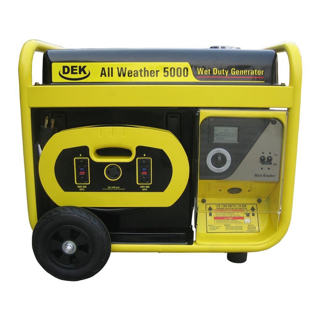 5000-watt, 6600 surge watt all-weather gas powered portable generator,  removable