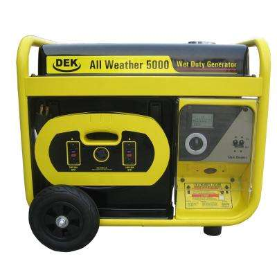 5000-Watt, 6600 Surge Watt All-Weather Gas Powered Portable Generator, Removable Control Panel and 15ft. Heavy Duty Cord