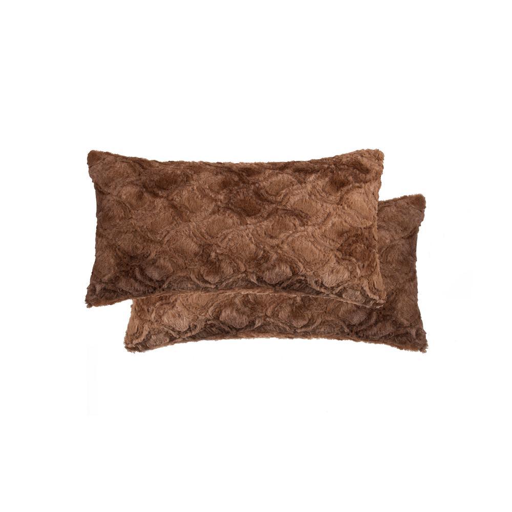 12 in. x 20 in. Belton Brown Mink Faux Fur (Set of 2)