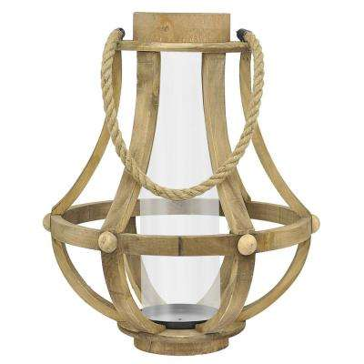 19 in. Brown Wood Lantern with Glass