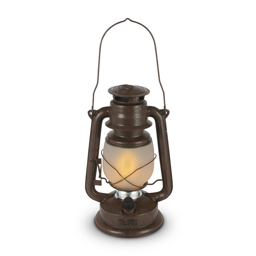 11 in. Brown FireGlow Glass Hurricane Lantern