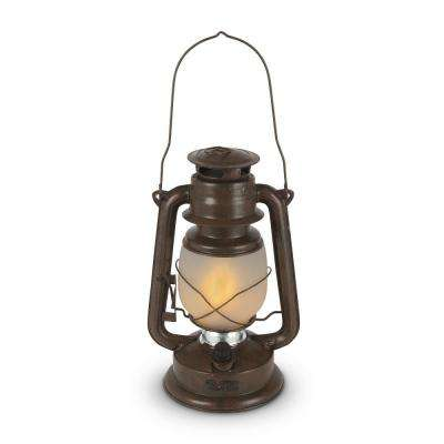 11 in. Brown FireGlow Glass Hurricane Lantern