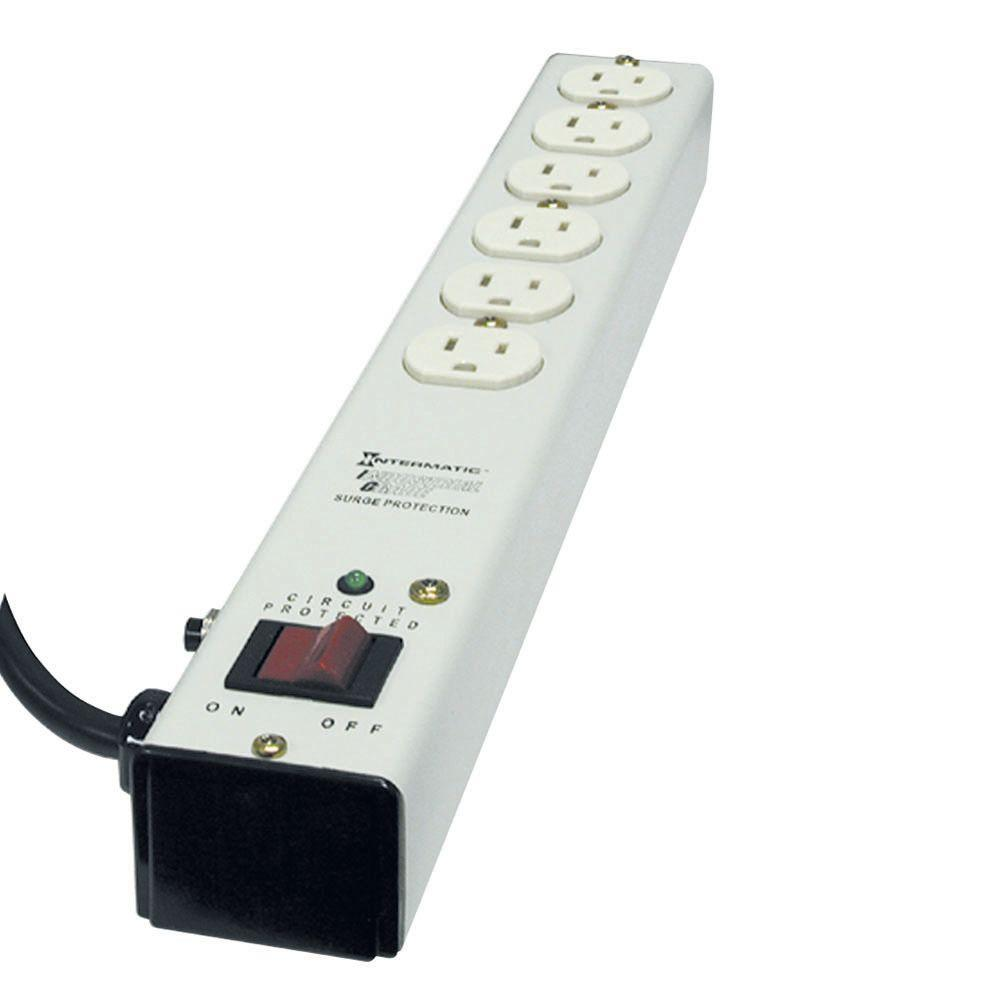 intermatic 6 ft 6 outlet surge strip computer grade with emi rfi rh homedepot com