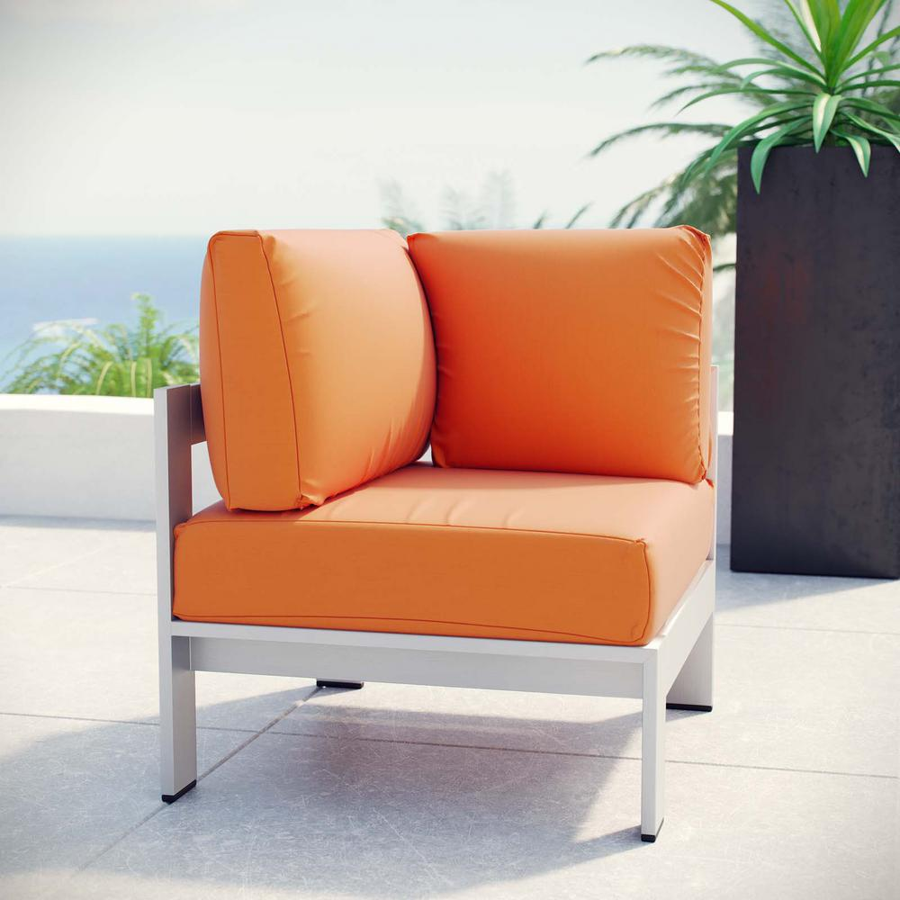 Modway Shore Patio Aluminum Corner Outdoor Sectional Chair In Silver With Orange Cushions