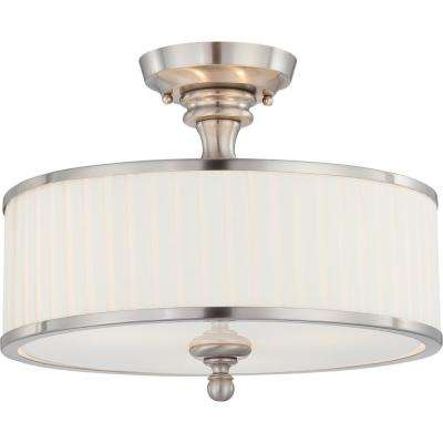 Maxwell 15 in. 3-Light Brushed Nickel Semi-Flush Mount