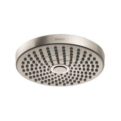 Croma Select S 180 2-Spray 7 in. Fixed Shower Head in Brushed Nickel
