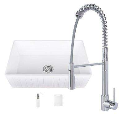 All-in-One Matte Stone Farmhouse 33 in. 0-Hole Kitchen Sink and Laurelton Chrome Faucet Set