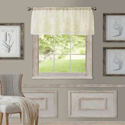 Sheer Addison 60 in. W x 17 in. L, Rod Pocket Sheer Single Valance Window Curtain Drape, Ivory