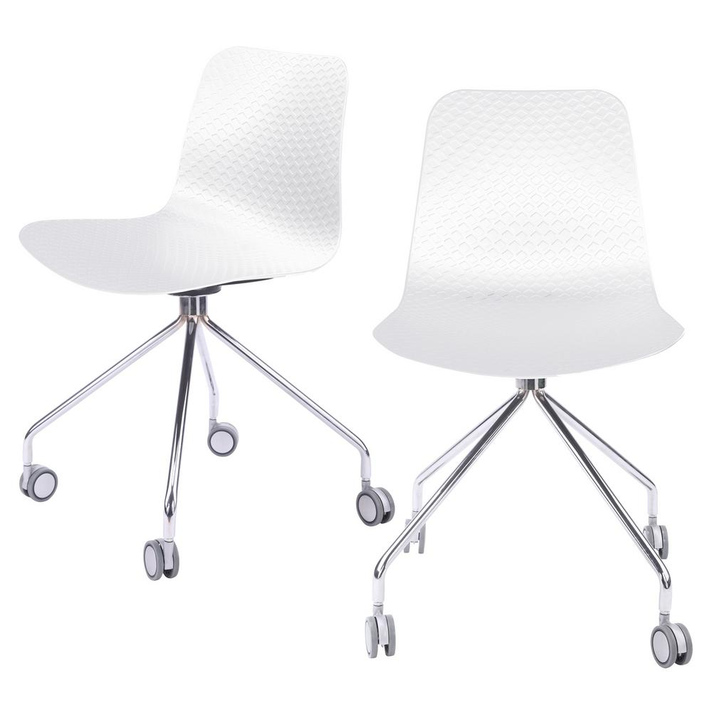 CozyBlock Hebe Series White Office Chair Designer Task Chair Molded Plastic  Seat with Chrome Wheel Legs (Set of 44242)-HEBE-442-WHI-44242 - The Home Depot