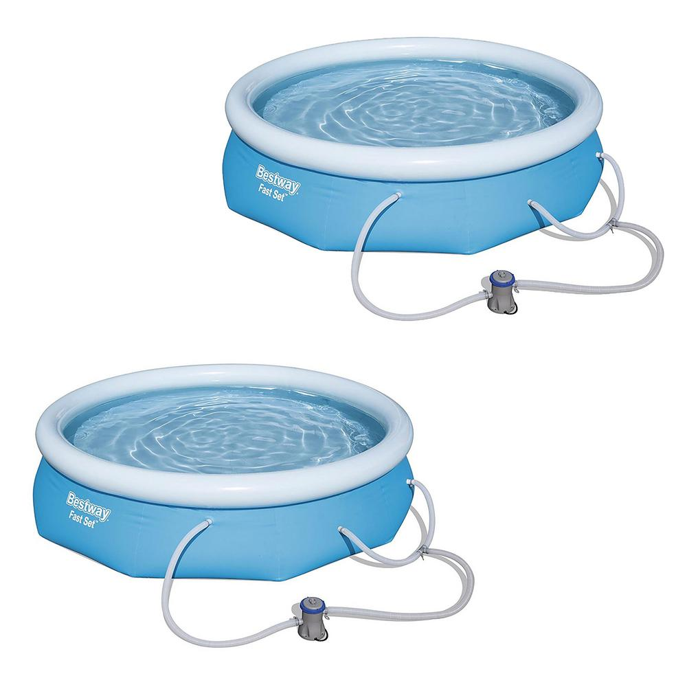 Bestway 10 ft. x 30 in. Fast Set Inflatable Above Ground Swimming Pool and  Pump (2-Pack)