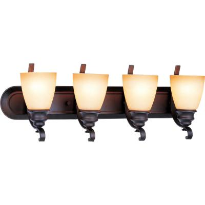 Rainier 4-Light Indoor Foundry Bronze Bath or Vanity Wall Mount with Sandstone Glass Bell Shades