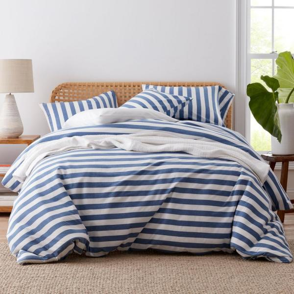 The Company Store Awning Stripe Space-Dyed Blue Jersey Knit Queen Duvet