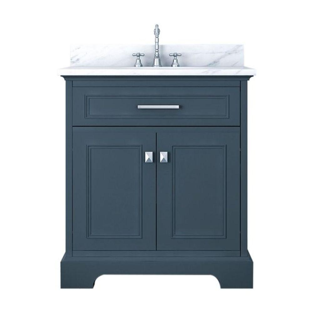 Alya Bath Yorkshire 31 in. W x 22 in. D Bath Vanity in Gray with Marble Vanity Top in White with White Basin