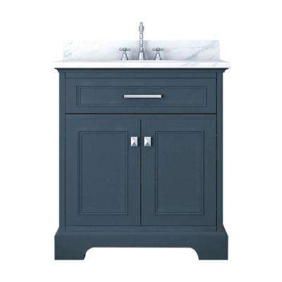 Yorkshire 31 in. W x 22 in. D Bath Vanity in Gray with Marble Vanity Top in White with White Basin