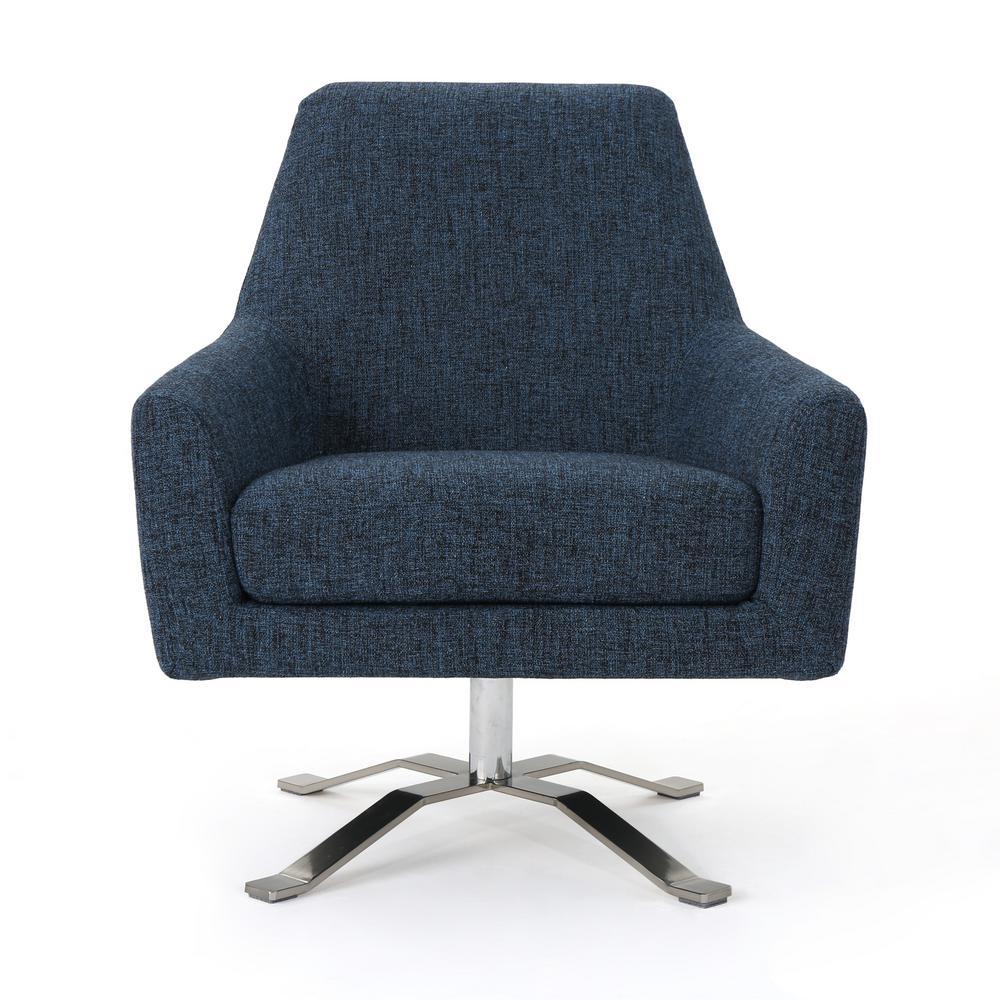 Ailis Indigo Weave and Chrome Swivel Club Chair