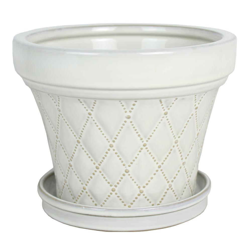 6 in. French Quilt Taper White Ceramic Pot