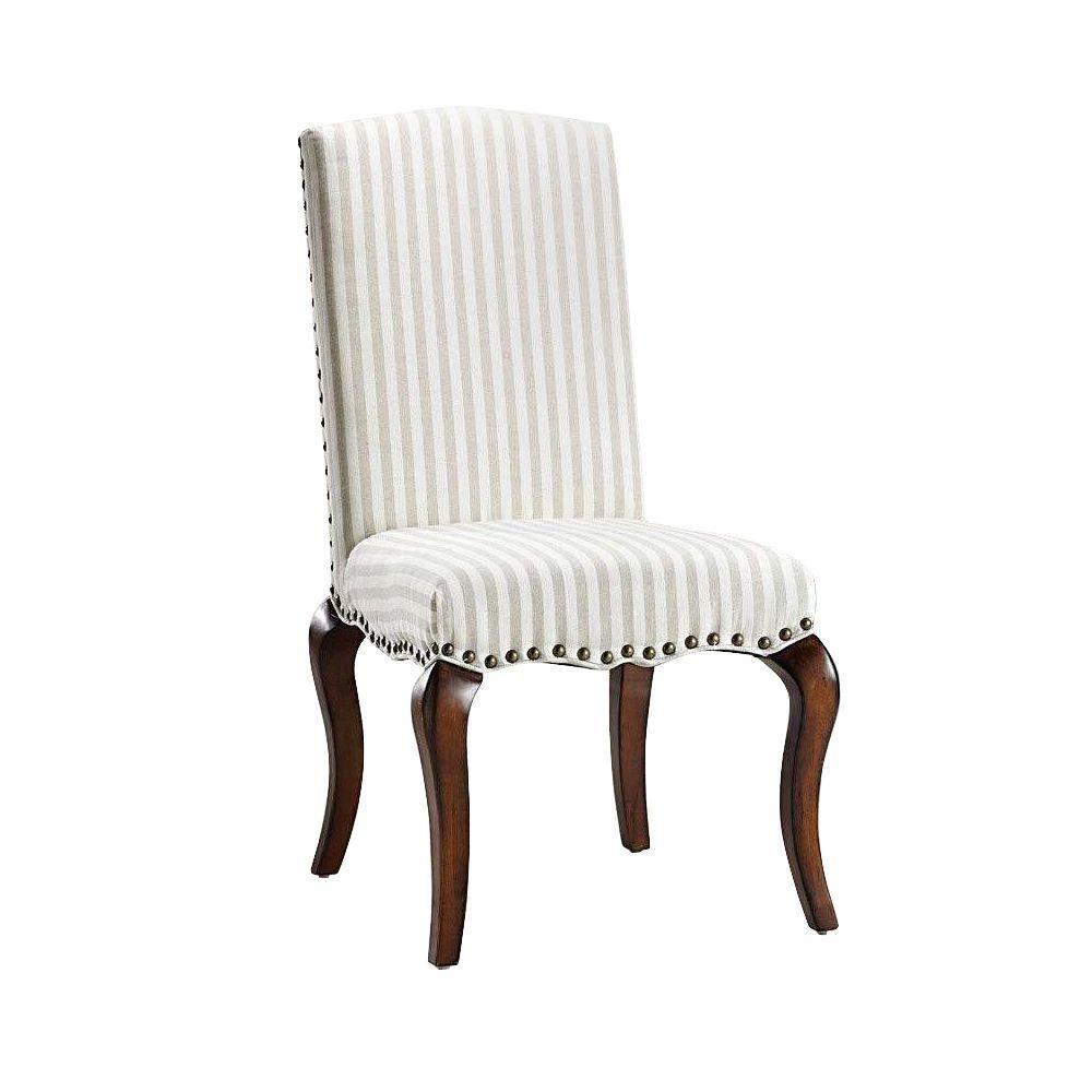 Home Decorators Collection Marais Ivory Linen Stripe Accent Chair