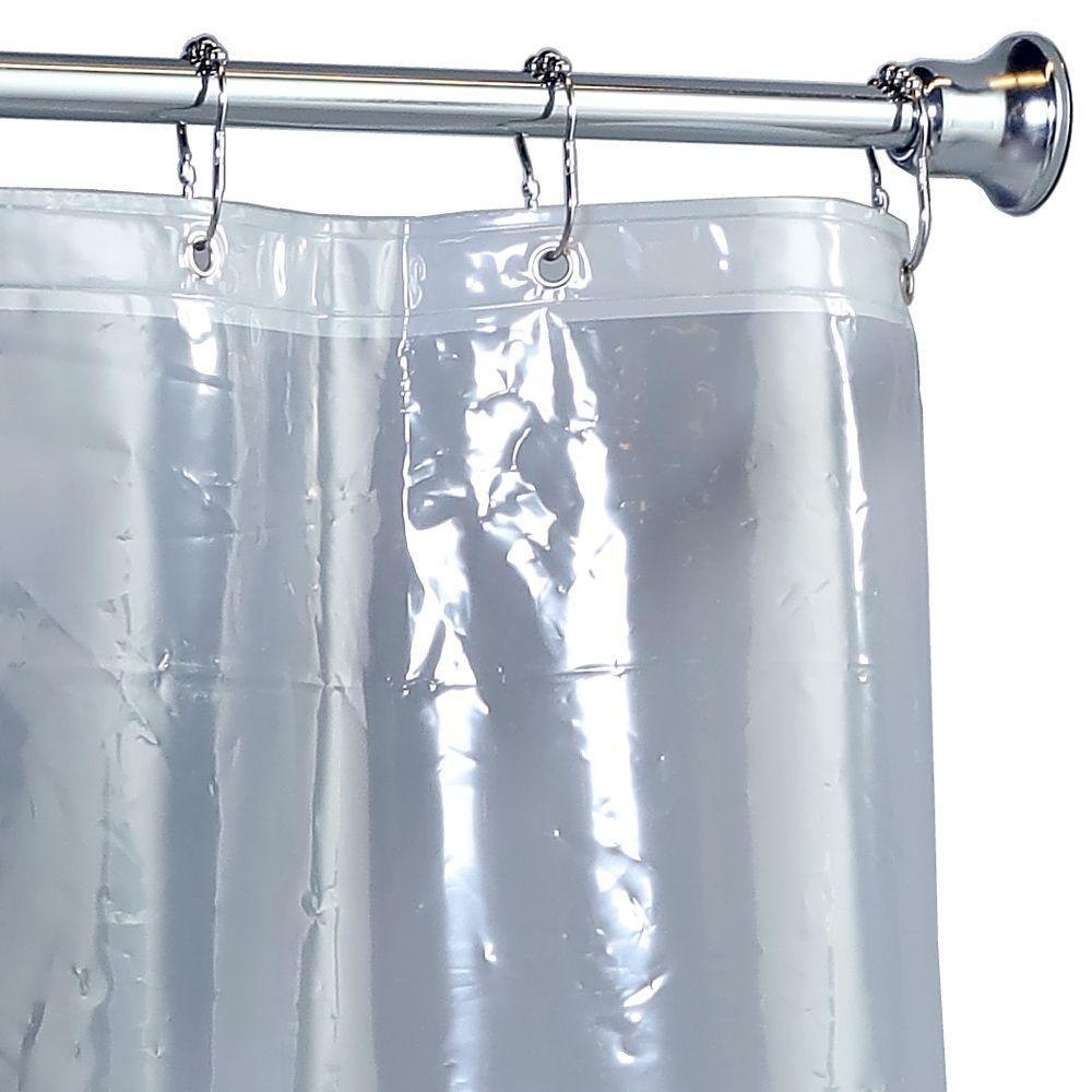 X-Long Shower Curtain Liner in Clear-14581 - The Home Depot