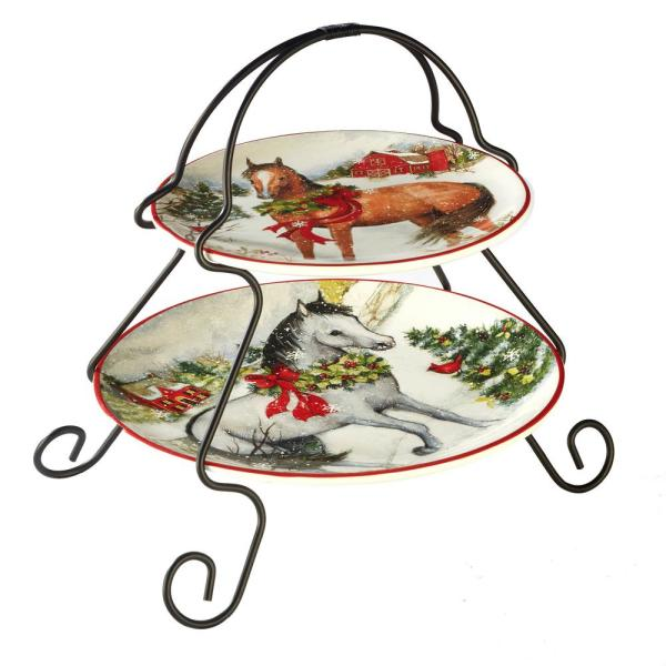 Certified International Christmas on the Farm by Susan Winget 2-Tier Server
