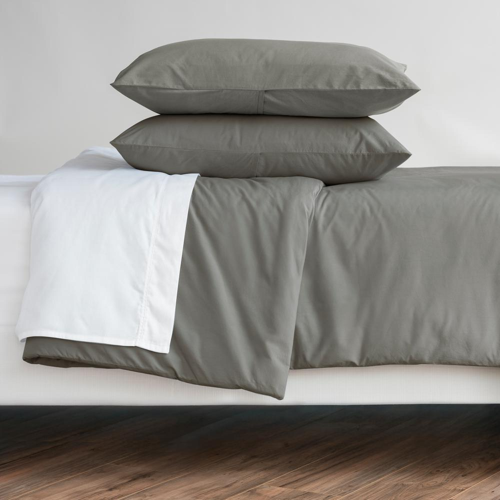 WELHOME The Cozy Cotton Pewter King Duvet Set, Silver was $129.99 now $64.99 (50.0% off)