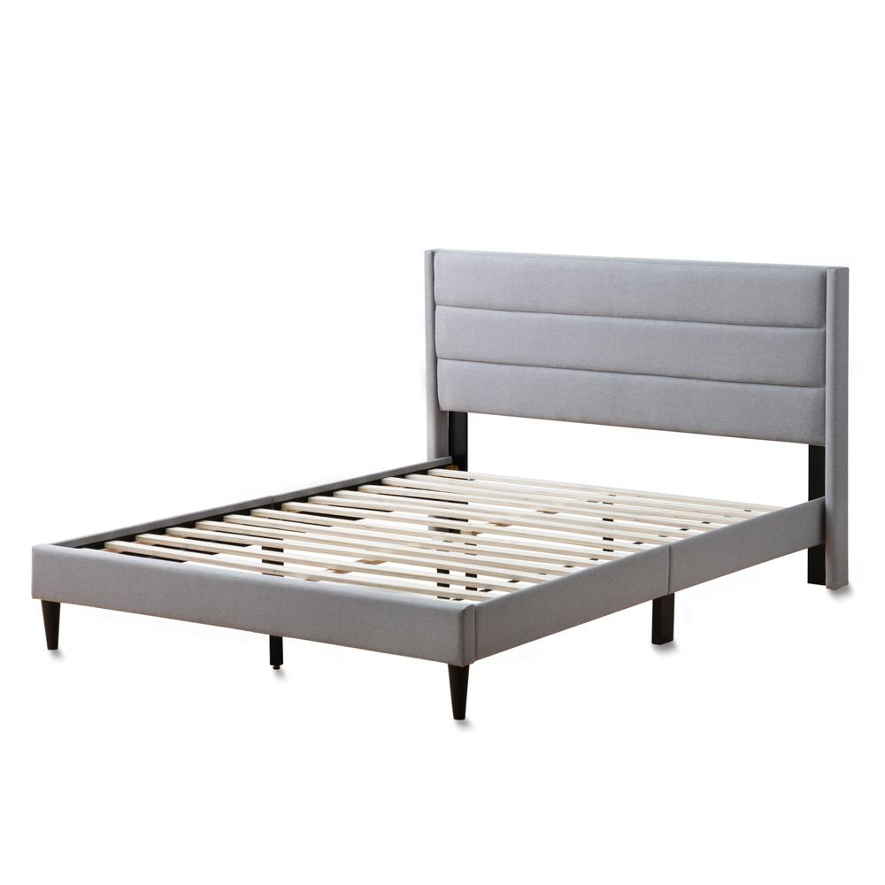 Sara Stone King Upholstered Bed with Horizontal Channels