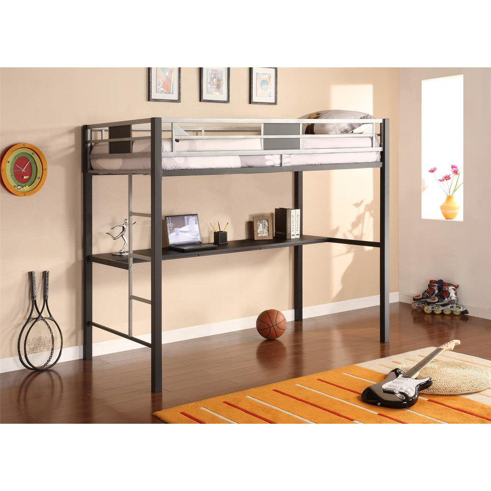 DHP Black Screen Twin Metal Loft Bed With Silver Accents