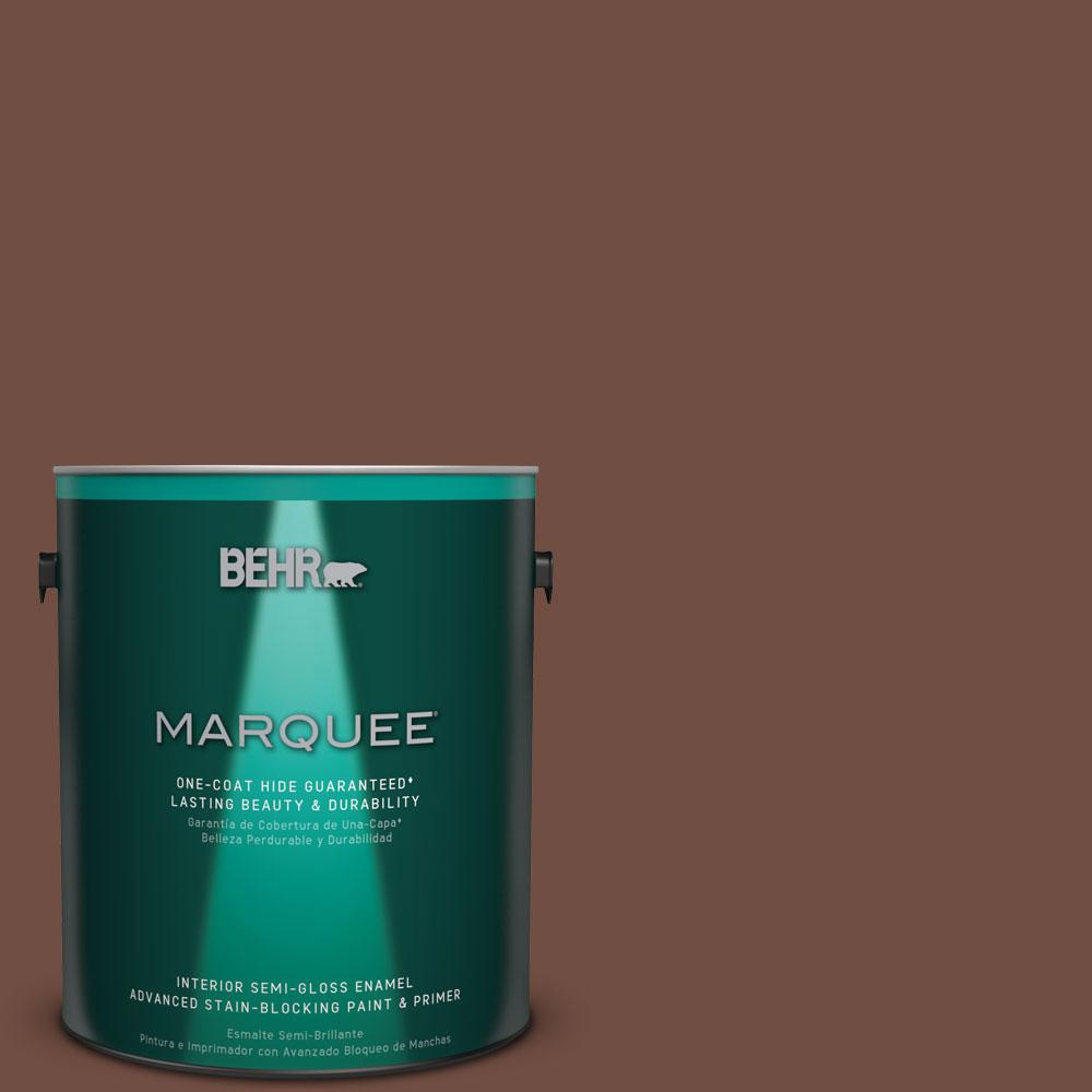1 gal. #N160-7 Brown Velvet One-Coat Hide Semi-Gloss Enamel Interior Paint