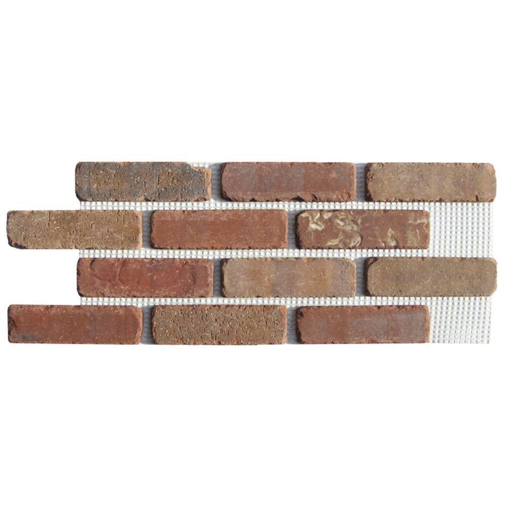 Brickwebb Columbia Street Thin Brick Sheets - Flats (Box of 5 Sheets) - 28 in. x 10.5 in. (8.7 sq. ft.)