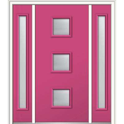 64 in. x 80 in. Aveline Clear Low-E Glass Left-Hand 3-Lite Midcentury Painted Steel Prehung Front Door with Sidelites