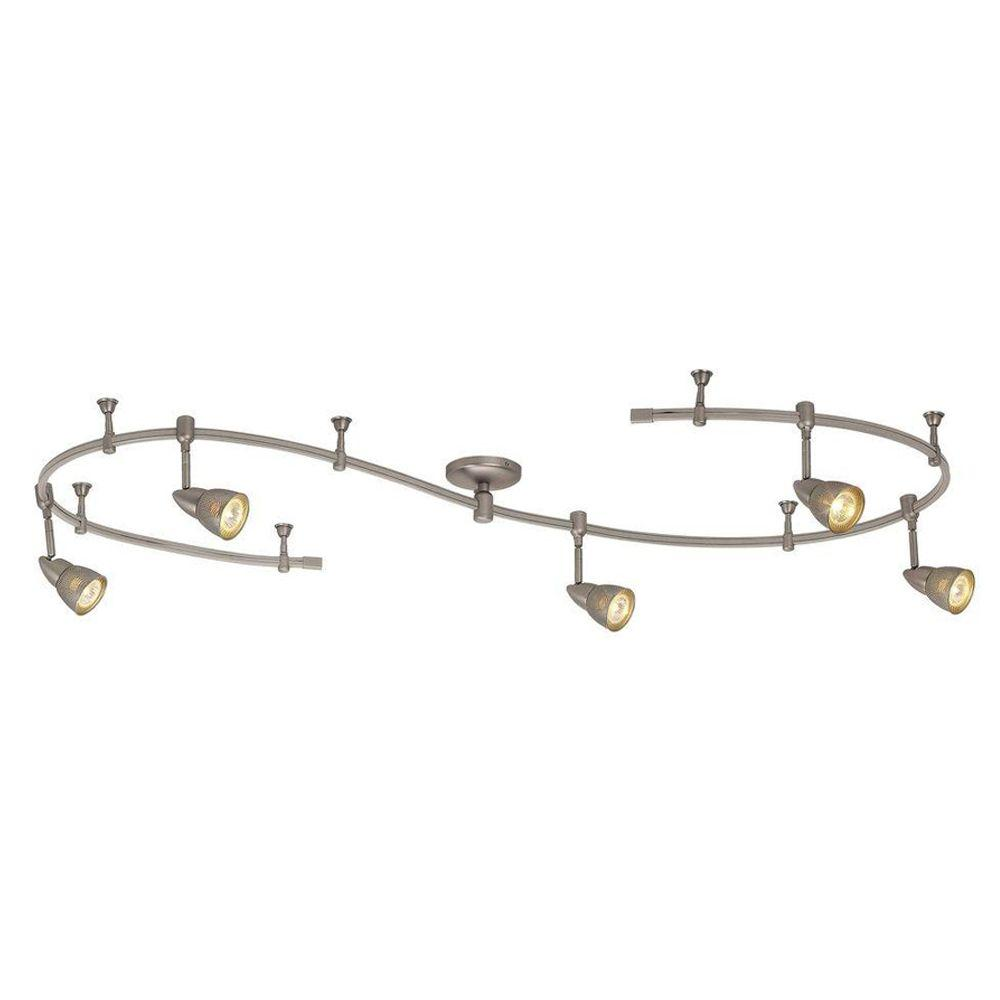 beautiful home depot track lighting lighting. 5light brushed steel linevoltage flexible track light kit with mesh shadesec9580ba the home depot beautiful lighting