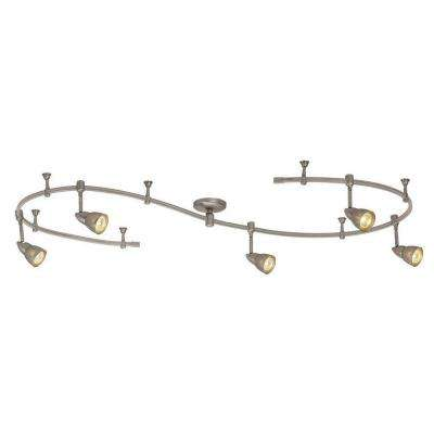 10 ft. 5-Light Brushed Steel Line-Voltage Flexible Track Light Kit with Mesh Shades