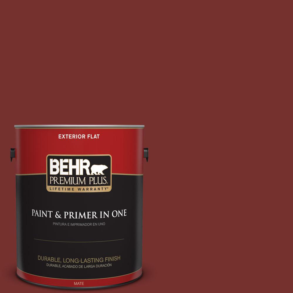 BEHR Premium Plus 1-gal. #ECC-15-3 Cherry Bark Flat Exterior Paint