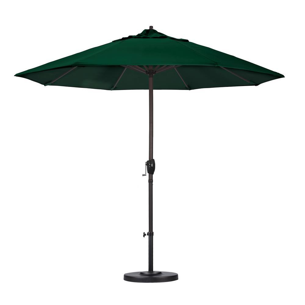9 ft. Aluminum Auto Tilt Patio Umbrella in Hunter Green Olefin