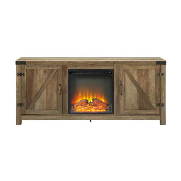 Walker Edison Furniture Company 58 in. Rustic Barnwood Modern Farmhouse Barn Door Fireplace TV Stand Storage Console