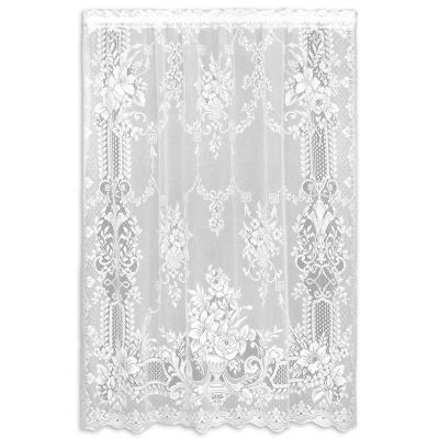 Kensington White Lace Curtain Panel 60 in. W x 63 in. L