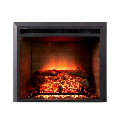 28 in. LED Electric Fireplace Insert in Black Matt