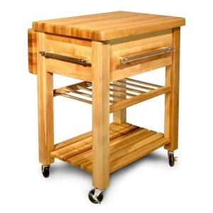 Catskill Craftsmen Baby Grand Natural Kitchen Cart with Drop ...